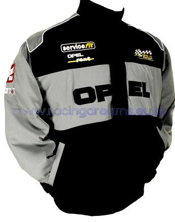 Auto Racing Jacket on Opel Jacke Schwarz Grau